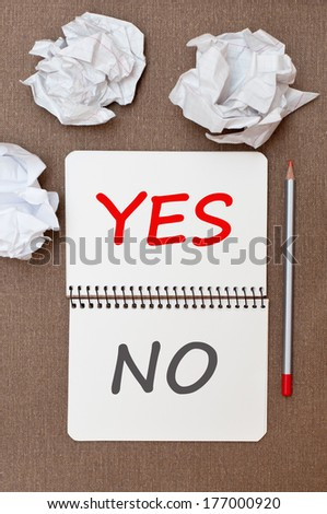 Yes and No  - stock photo