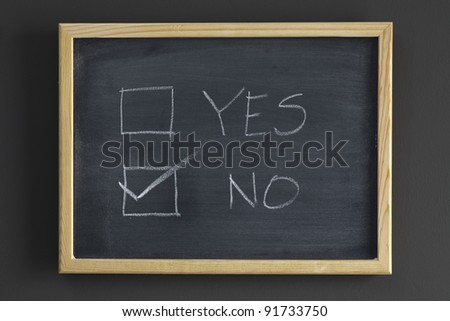 YES and NO check boxes written on a blackboard - stock photo