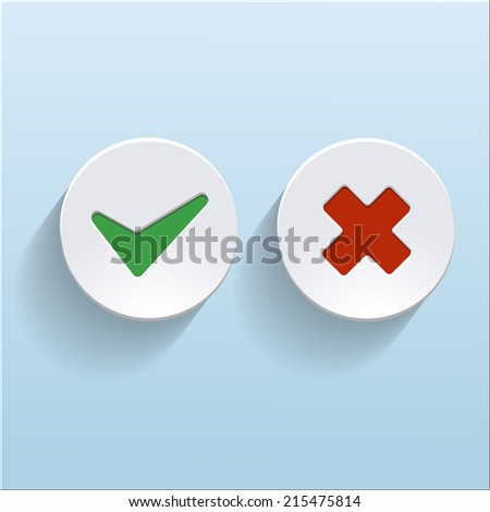 Yes and No check marks on circles - stock photo