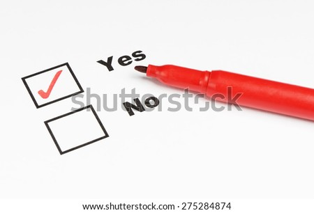 Yes and No check marks with pen - stock photo