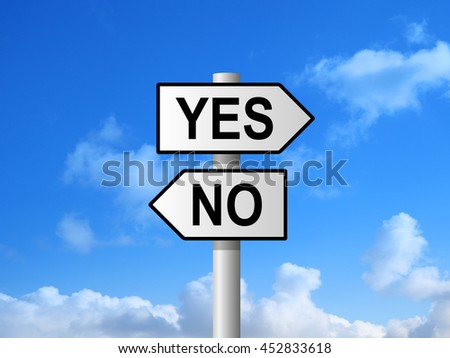 Yes and no choice sign post against blue sky