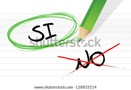 yes and no selection in Spanish illustration design on a notepad - stock photo