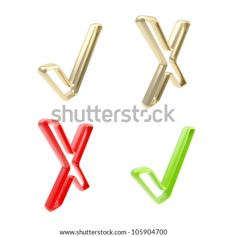 Yes and no: set of plastic and golden tick and cross signs isolated on white - stock photo