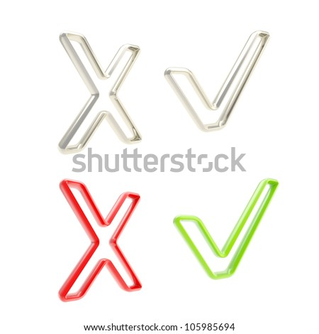 Yes and no: set of plastic and metal tick and cross signs isolated on white - stock photo