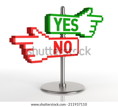 YES and NO Sign. Digitally Generated Image isolated on white background. 3D Rendering - stock photo
