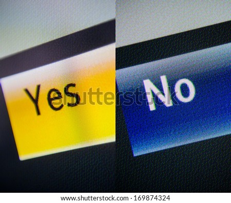 Yes and no words on a digital display. Close up and tilt-shift lens used for a better impact. - stock photo