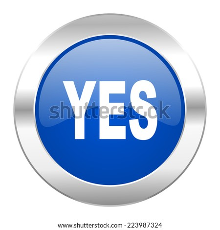 yes blue circle chrome web icon isolated