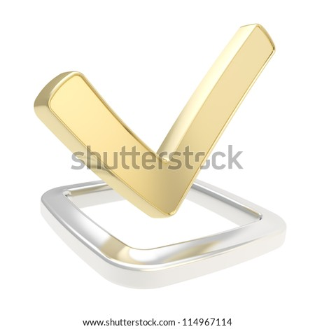 Yes check golden tick glossy emblem icon over chrome metal checkbox isolated on white background - stock photo
