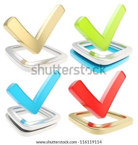 Yes check tick glossy emblem icon over checkbox isolated on white background, set of four - stock photo