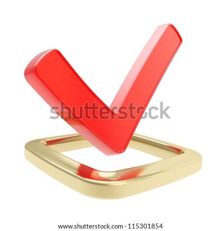 Yes check tick red glossy emblem icon over golden checkbox isolated on white background - stock photo