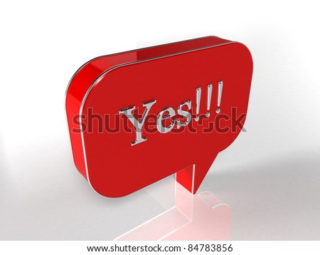 Yes - 3d render - stock photo