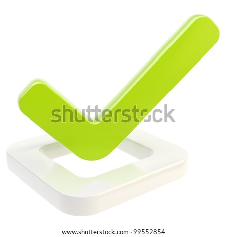 Yes done green tick over glossy check box isolated on white - stock photo