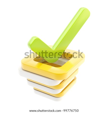 Yes done green tick over stack of glossy check boxes isolated on white - stock photo