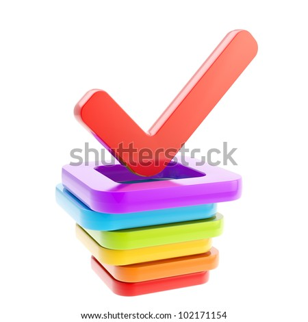 Yes done red tick over stack of  glossy rainbow colored check boxes isolated on white - stock photo