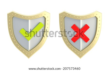 Yes green tick and no red cross mark signs over the shield surface isolated on white background, front view - stock photo