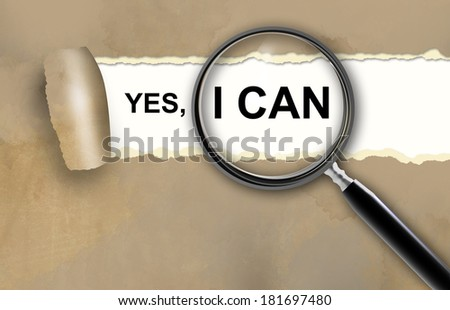 yes, i can and magnifying glass made in 2d software - stock photo