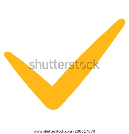 Yes icon from Business Bicolor Set. This flat raster symbol uses yellow color, rounded angles, and isolated on a white background.