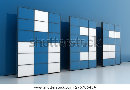 Yes message on video wall, original three dimensional models. - stock photo