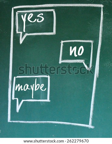 yes no and maybe chat sign on blackboard - stock photo