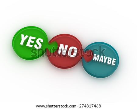 Yes, no and maybe round puzzle icon on the white background. - stock photo