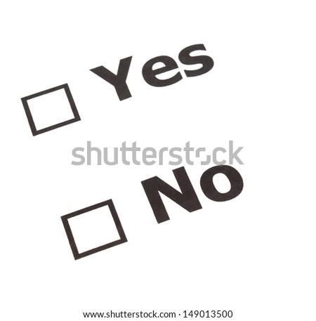 Yes No  check boxes - stock photo