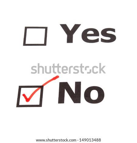 Yes No  check boxes,check No - stock photo