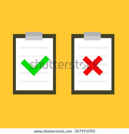 Yes No chek mark sign on clipboard Lined paper notebook Flat design  - stock photo