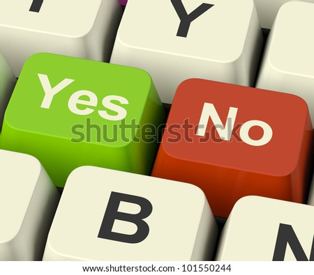 Yes No Keys Represent Uncertainty And Decisions Online - stock photo