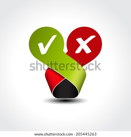 yes no label - check mark symbol