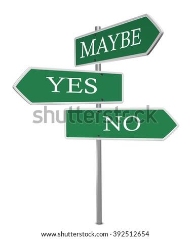 Yes No Maybe Signpost on white background - stock photo