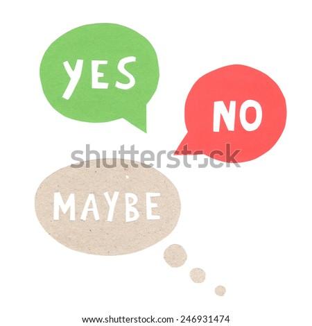 Yes No Maybe speech bubbles - stock photo