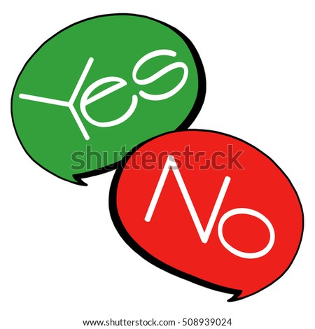 Yes, no speech bubbles illustration; Speech bubbles cartoon