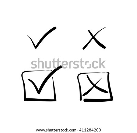 Yes no tick cross box signs vote test answer hand-drawn - stock photo