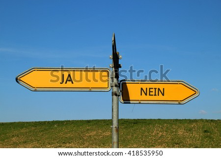 Yes No two Way Street Sign on blue sky background - stock photo