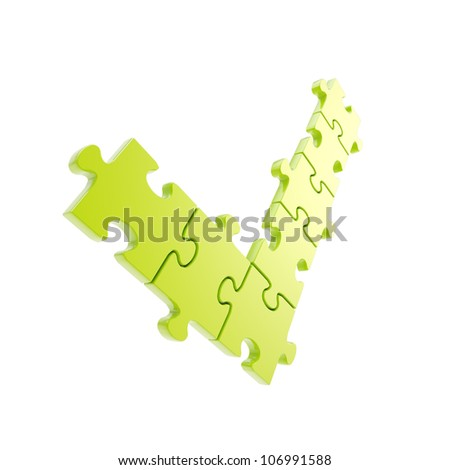 """Yes """"ok"""" tick made of linked puzzle jigsaw pieces isolated on white - stock photo"""