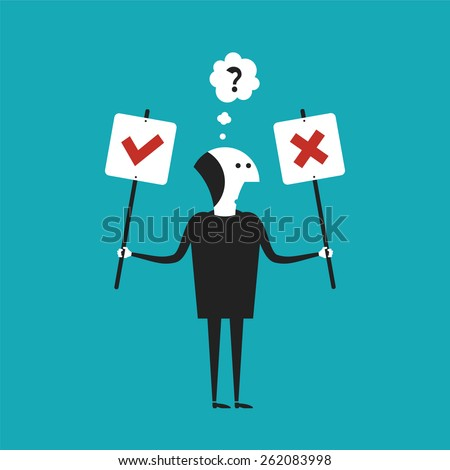 Yes or No bitmap concept in flat cartoon style - stock photo