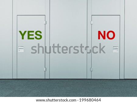 Yes or No, concept of choice. Closed doors with printed marks as concept of decision making, options, strategy and dilemmas. - stock photo