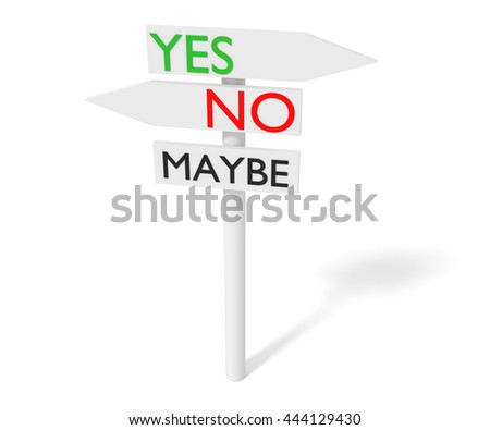 Yes or no: guidepost, 3d illustration - stock photo