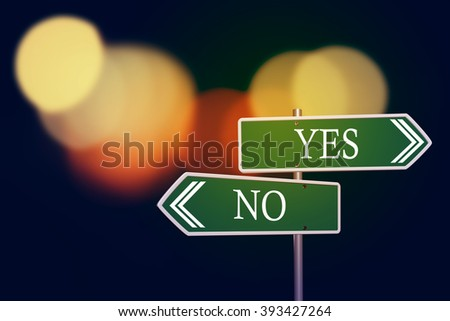 yes or no road signs on  abstract bokeh background - stock photo