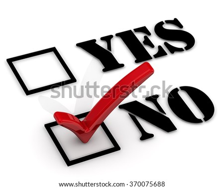 "Yes or no. The choice between positive and negative responses. Negative selection. The red mark on the ""NO"". The three-dimensional illustration - stock photo"