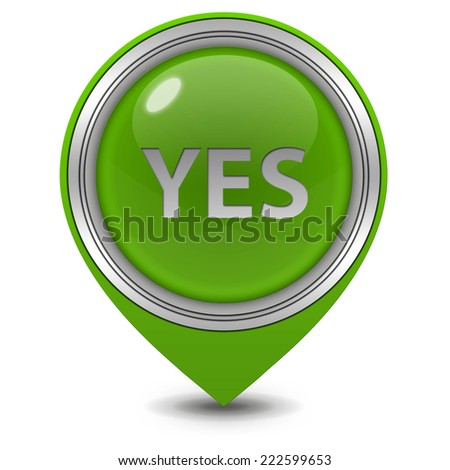 yes pointer icon on white background