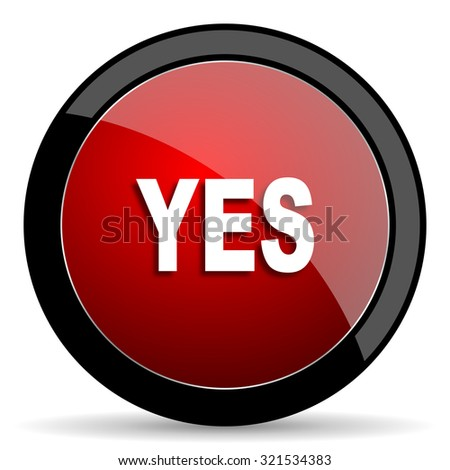 yes red circle glossy web icon on white background, round button for internet and mobile app