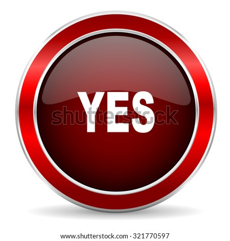 yes red circle glossy web icon, round button with metallic border
