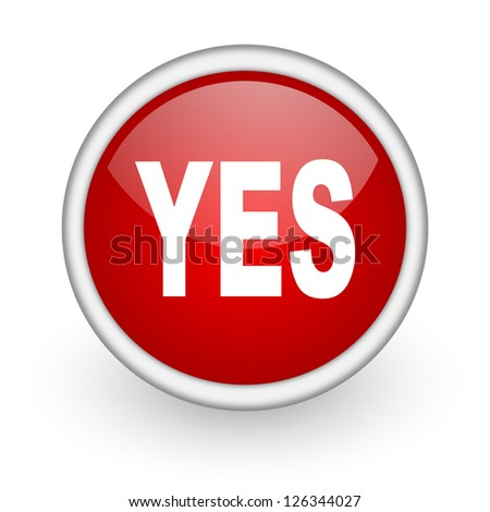 yes red circle web icon on white background