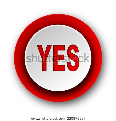 yes red modern web icon on white background