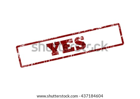 YES Rubber Stamp over a white background. - stock photo