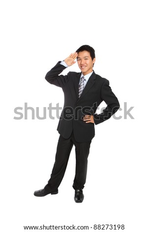 Yes Sir! Business man gives salute isolated on white background