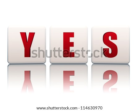 yes text in 3d white blocks with red letters with reflection - stock photo