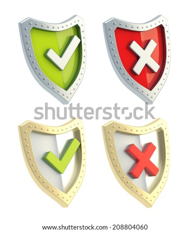 Yes tick and no cross mark signs over the shield surface isolated on white background, set of two color versions - stock photo