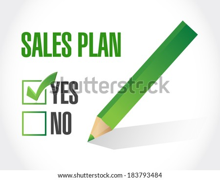 yes to sales plan check mark illustration design over a white background - stock photo